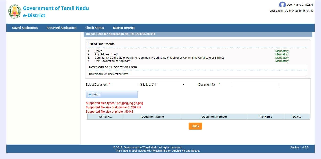 Required Documents Community Certificate