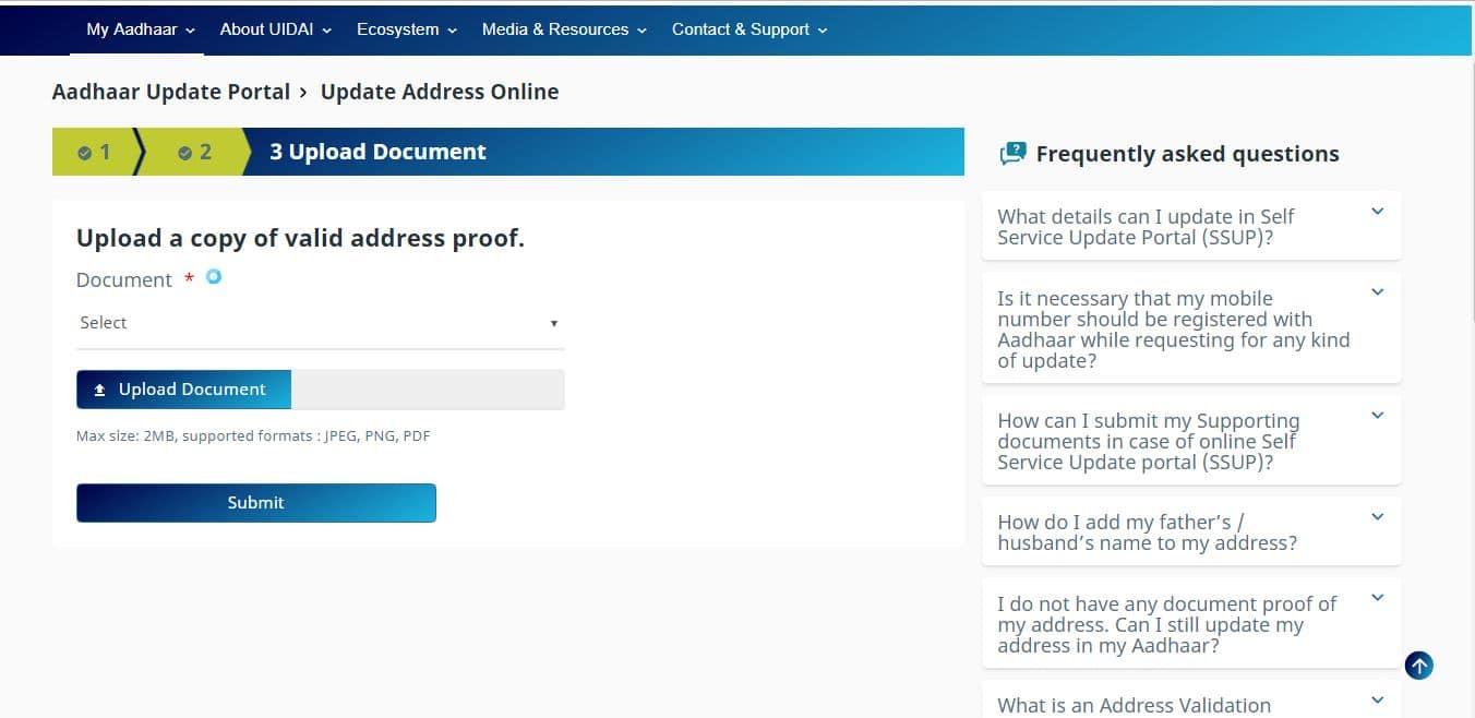 aadhaar valid address proof
