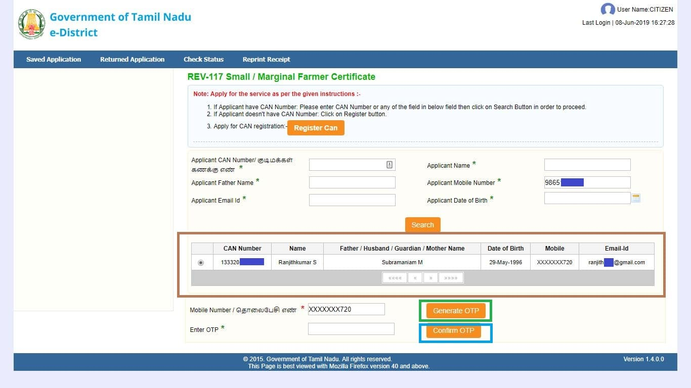 small marginal farmer certificate CAN Number OTP