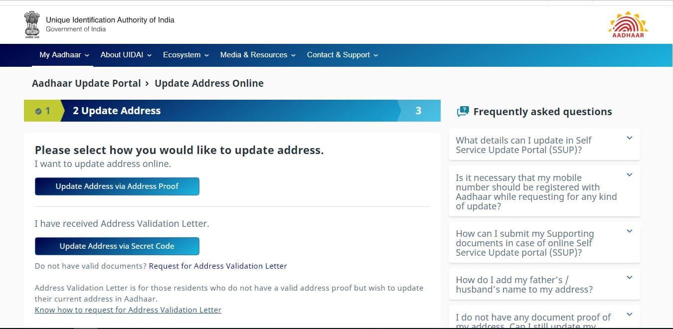 update aadhaar address via address proof