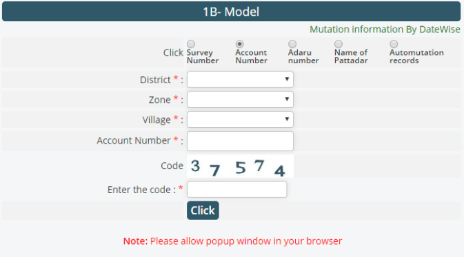 meebhoomi 1B Model