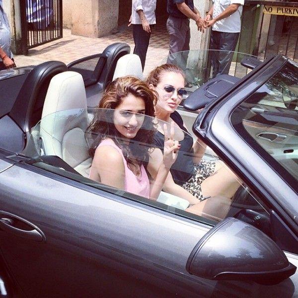 Disha Patani driving a car
