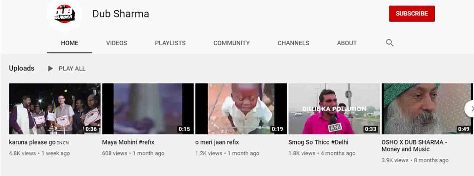 Dub Sharma Youtube Channel