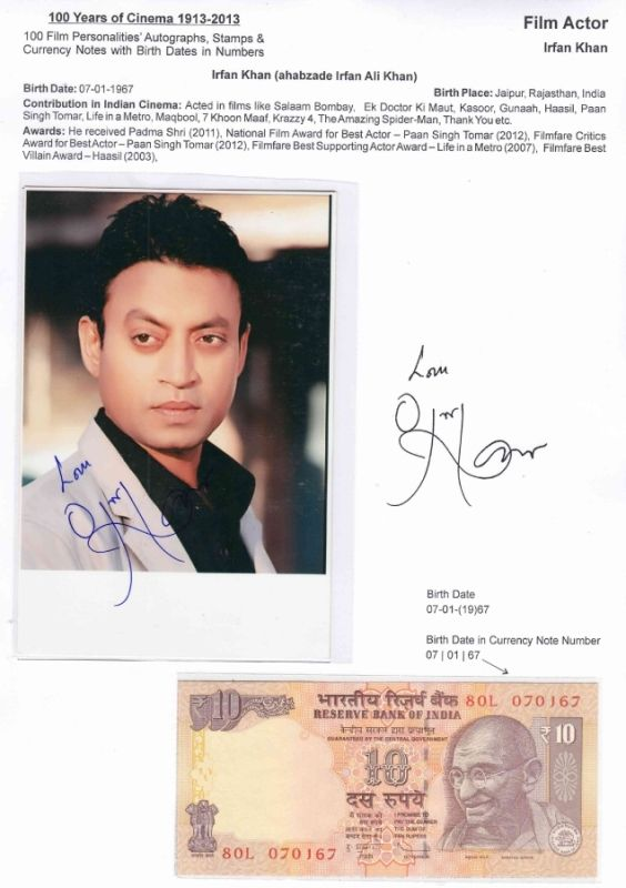 Irrfan Khan and the Ten Ruppe Note with his Date of Birth on it