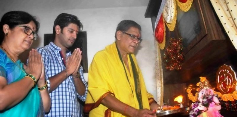 Mohan Joshi with His Wife and Son