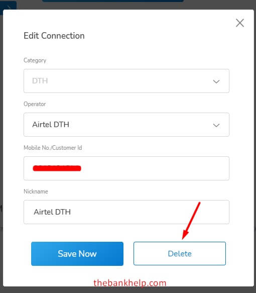 click on delete button to remove saved connection from mobikwik