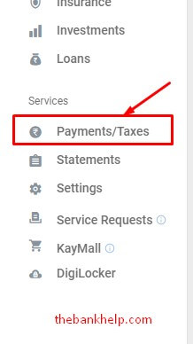 click on payments option in kotak netbanking