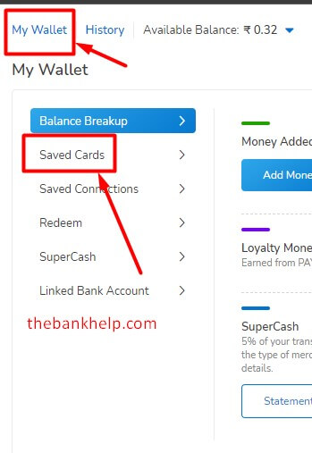 click on saved cards in mobikwik