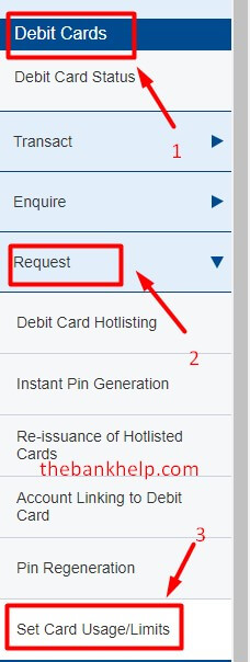 click on set card usage