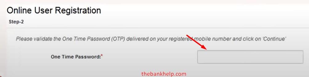 enter otp for pnb net banking registration