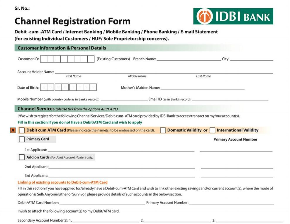 Register For IDBI Internet banking