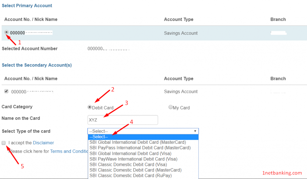select card type and other details to apply for new sbi debit card