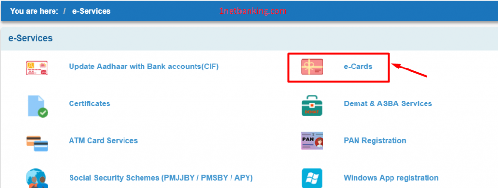 select e cards from sbi inb to create virtual card