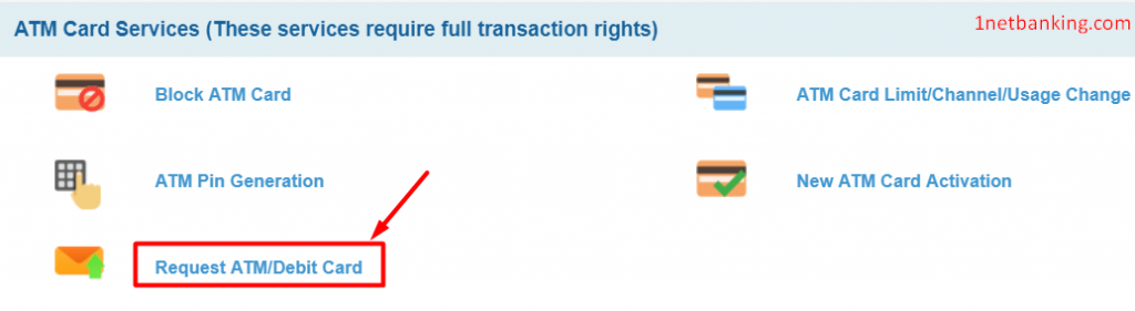 select request new sbi debit card