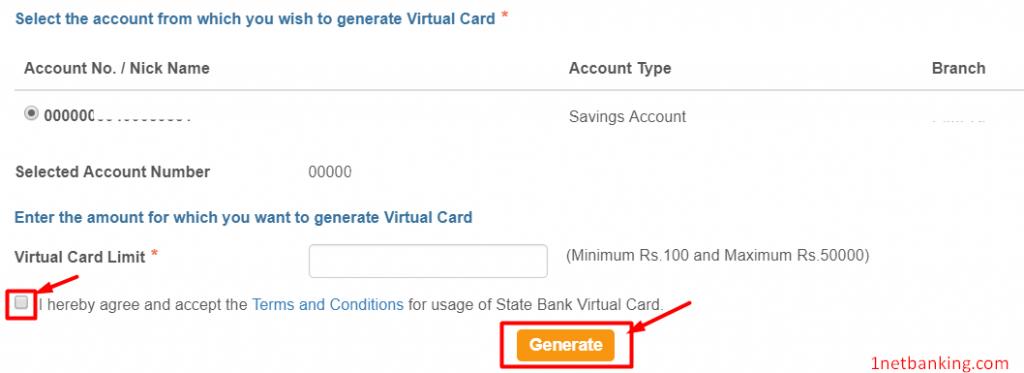 create SBI virtual card online